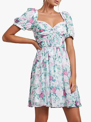 Forever New Maya Pleated Floral Print Mini Dress, Glasshouse