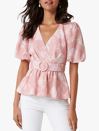 Forever New Pauline Floral Print Puff Sleeve Wrap Top, Coral Linear Spray