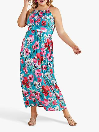 Yumi Curves Poppy Print Halterneck Maxi Dress, Green/Multi