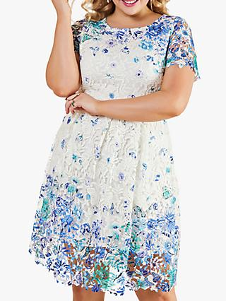 Yumi Curves Guipure Lace Floral Mini Dress, Ivory