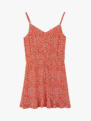 Oasis Textured Spotted Mini Sundress, Orange