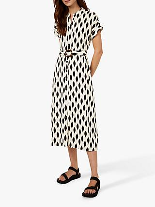 Warehouse Ikat Abstract Print Belted Midi Dress, Black/White