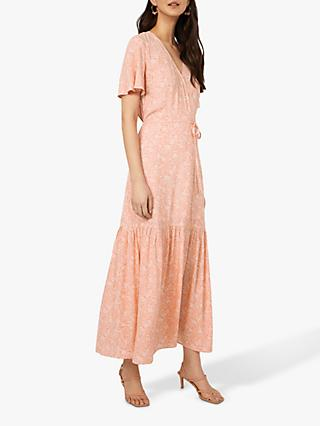 Warehouse Damask Floral Maxi Dress, Coral