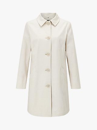 Four Seasons Stripe Single Breasted Coat, Cream