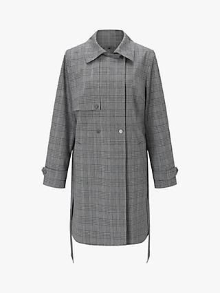 Four Seasons Trench Fastening Check Coat, Grey