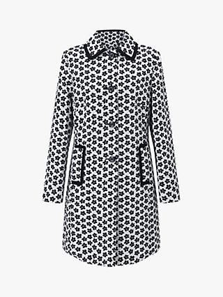 Four Seasons Daisy Print Coat, White/Navy