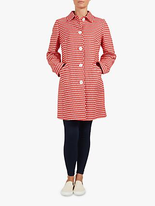 Four Seasons Spot Print Coat, Hot Pink/Ivory
