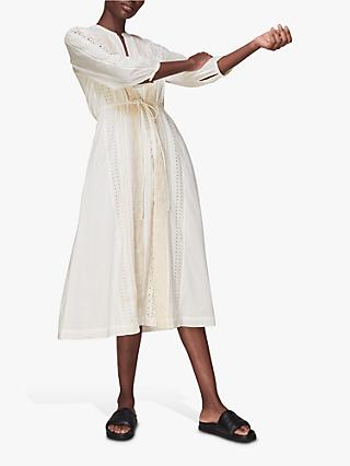 Whistles Cotton Embroidered Midi Dress, White