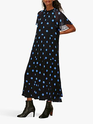 Whistles Margie Spot Print Midi Dress, Black/Multi