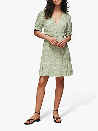 Whistles English Garden Print Mini Wrap Dress, Green/Multi