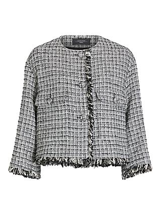 Weekend Max Mara Bosco Tailored Tweed Jacket, Black/White