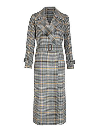 Weekend MaxMara Aldo Check Print Long Coat, Black/White