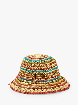 White Stuff Rainbow Stripe Straw Hat, Multi