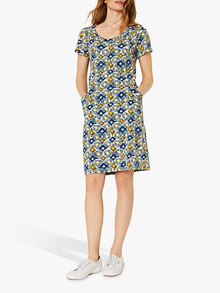 White Stuff Selina Abstract Print Shift Dress, Light Blue