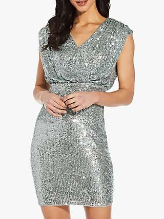 Adrianna Papell Sequin Blouson Sheath Mini Dress, Frosted Sage