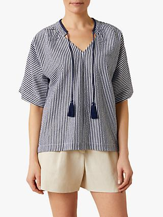 Jigsaw Heidi Stripe Seersucker Blouse, Grey