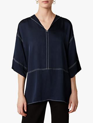 Jigsaw Hammered Satin Tunic Top, Navy