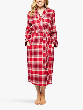 Cyberjammies Megan Check Long Wrap Dressing Gown, Red/Multi