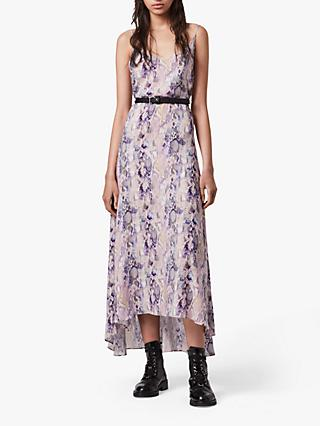 AllSaints Essie Masala Animal Print Midi Dress, Pink Mink