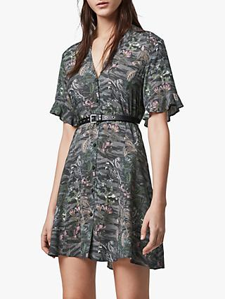 AllSaints Fay Paradeep Animal Print Mini Dress, Green