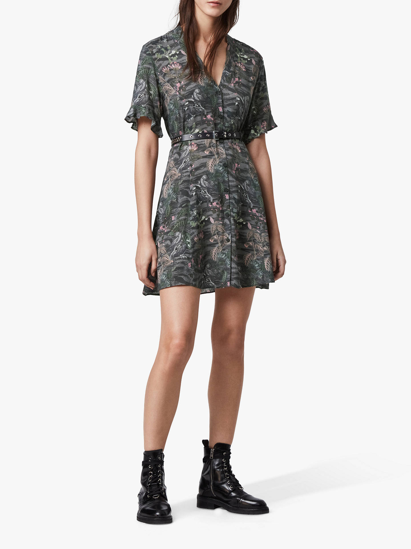 Buy AllSaints Fay Paradeep Animal Print Mini Dress, Green, XS Online at johnlewis.com