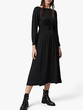 AllSaints Faustin Flora Dress, Black