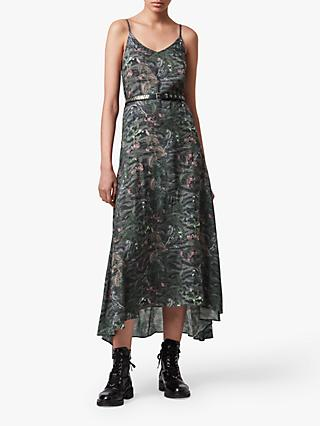 AllSaints Essie Paradeep Floral Print Midi Dress, Dark Green/Multi
