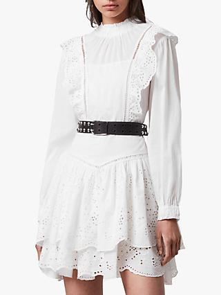 AllSaints Broiderie Mini Dress, Chalk White