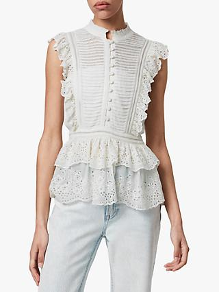 AllSaints Lola Embroidered Peplum Top, Chalk White
