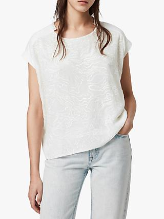 AllSaints Palmer Pina Embroidered Tee, Chalk White