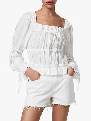 AllSaints Kimi Ruched Top, Chalk White