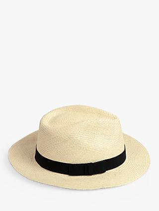 hush Ribbon Detail Panama Hat, Natural/Black