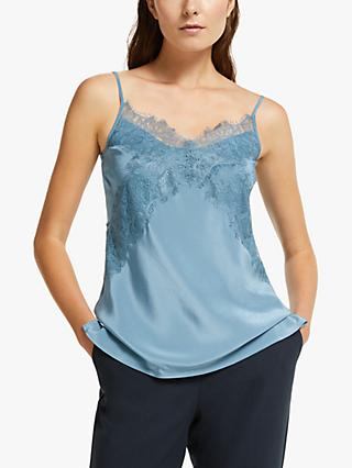 Modern Rarity Cross Lace Silk Camisole Top, Dusty Blue