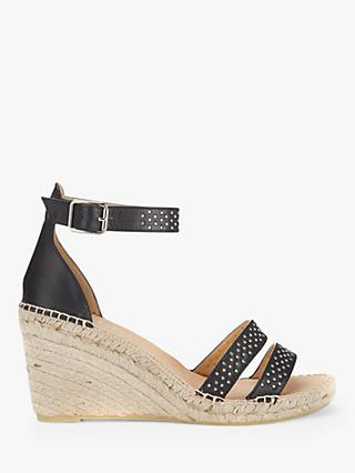 Mint Velvet Lily Leather Espadrille Wedges, Black
