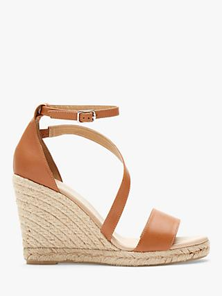 Mint Velvet Daisy Leather Espadrille Wedges, Brown