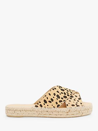 Mint Velvet Molly Leather Suede Sliders, Multi