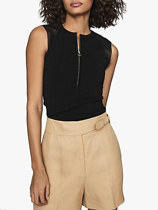 Reiss Lila Sleeveless Zip Neck Top