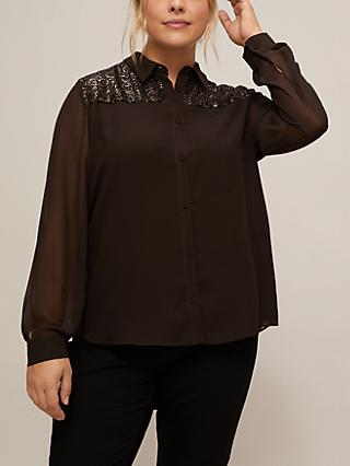 Persona by Marina Rinaldi Boom Sequin Detail Shirt, Chocolate Brown