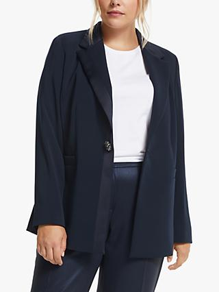 Persona by Marina Rinaldi Cento Satin Trim Jacket, Navy