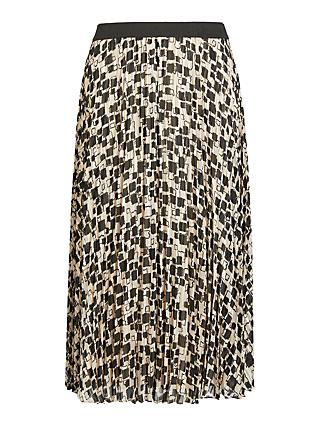 Persona by Marina Rinaldi Cairo Print Pleated Skirt, Beige