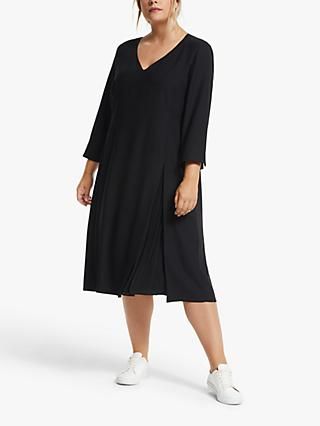 Persona by Marina Rinaldi Doris Pleat Detail Dress, Black