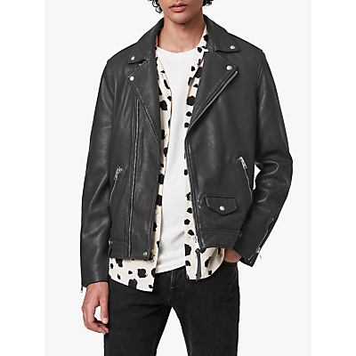 AllSaints Milo Leather Biker Jacket, Anthracite Grey