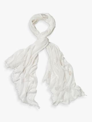 White Stuff Foil Leaf Dreaming Away Scarf, White