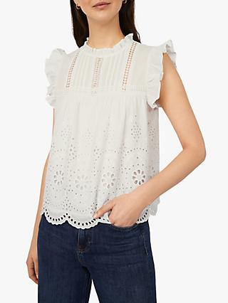 Warehouse Embroidered Ruffle Top, White