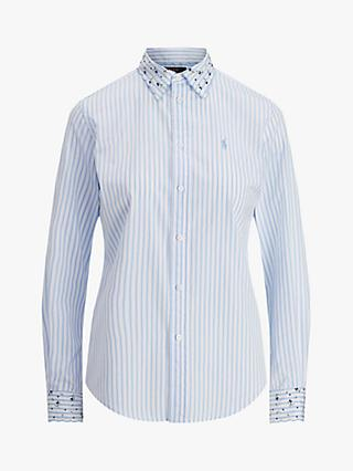 Polo Ralph Lauren Georgia Embroidered Stripe Shirt, White/Blue