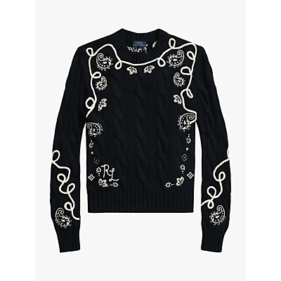 Polo Ralph Lauren Embroidered Cable Jumper, Black