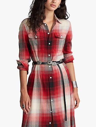 Polo Ralph Lauren Stephanie Check Shirt Dress, Red/Black