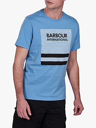 Barbour International Block Control Logo Print T-Shirt, BL55 Blue