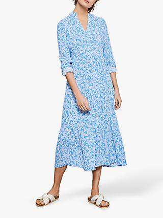 Mint Velvet Fern Print Boho Midi Dress, Blue