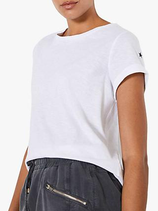 Mint Velvet Cotton Star T-Shirt, Ivory